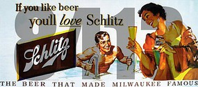 Tichy-Train HO If You Like Beer Youll Love Schlitz The Beer That Made Milwaukee Famous Vintage Billboard