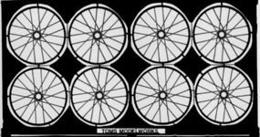 Toms Spoked Aircraft Wheel Set Plastic Model Aircraft Accessory 1/48 Scale #205