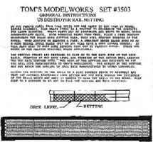 Toms US Destroyer & Escort Rail Netting Plastic Model Ship Accessory 1/350 Scale #3503