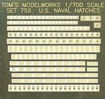 Toms US Naval Deck Hatches Plastic Model Ship Accessory 1/700 Scale #759
