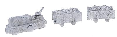 N-Scale-Arch Mine Engine (Unpowered) Driver & Two Mine Cars N Scale Model Railroad Vehicle #20012