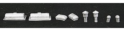 The N Scale Architect Roof Detail Assortment Modern -- N Scale Model Railroad Building Accessory -- #20082