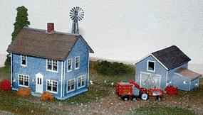 N-Scale-Arch Farm House, Carriage Shed & Windmill Box Set N Scale Model Railroad Building #30007
