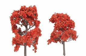N-Scale-Arch ForeGround(TM) Tree (6) Fall Fiesta Red N Scale Model Railroad Tree #60002