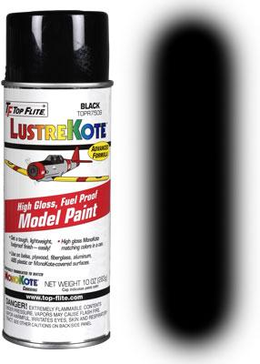 Lustrekote spray paint black 10 oz toptopr7509 top flite hobby and model lacquer paint Black spray paint