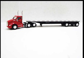 Trucks-N-Stuff Kenworth T680 Day-Cab Tractor with Flatbed Trailer Assembled Lonestar (red, silver, black)
