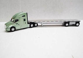 Trucks-N-Stuff Kenworth T680 Sleeper-Cab Tractor with Flatbed Trailer Assembled Central Oregon Truck (light green, silver)