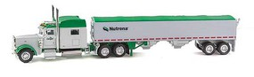 Trucks-N-Stuff Peterbilt 389 Sleeper-Cab Tractor with Grain Trailer Assembled Nutrena (white, green)