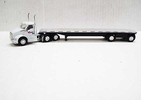Trucks-N-Stuff Kenworth T680 Day-Cab Tractor with Flatbed Trailer Assembled Cardinal Logistics (white, black, silver)