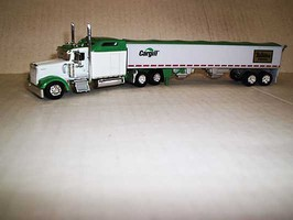Trucks-N-Stuff Kenworth W900L Sleeper-Cab Tractor with Grain Trailer Assembled Cargill-Nutrena Feeds (white, green, Retro Nutrena Logo)
