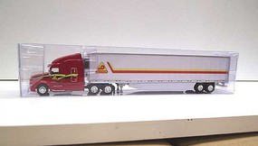 Trucks-N-Stuff Peterbilt 579 Sleeper Cab Tractor with 53' Reefer Trailer Assembled Decker (red, yellow, black)
