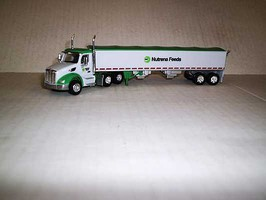 Trucks-N-Stuff Peterbilt 579 Day-Cab Tractor with Grain Trailer Assembled Nutrena Feeds (white, green, Old Logo)