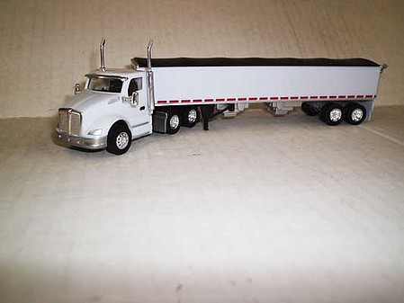 Trucks-N-Stuff Kenworth T680 Day-Cab Tractor with Grain Trailer - Assembled White