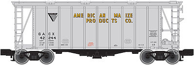 Atlas Trainman 40' Airslide Covered Hopper American Maize Products -- N Scale Model Train Freight Car -- #50001440