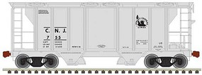Trainman PS-2 2-Bay Covered Hopper Ready to Run Central Railroad of New Jersey 809 (gray, Liberty Logo) N-Scale
