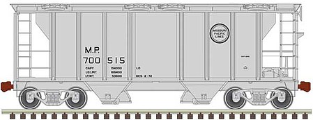 Trainman PS-2 2-Bay Covered Hopper - Ready to Run Missouri Pacific 700530 (black, Buzz Saw Logo) - N-Scale