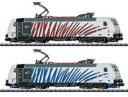Trix Class 185.6 TRAXX Electric 2-Locomotive Set - Exclusiv Lokomotion Gesellschaft fur Schienentraktion (white/red/gray & white/blue/gray - N-Scale