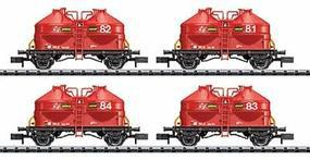Trix Silo Cntnr 4-Car Set WLE - N-Scale