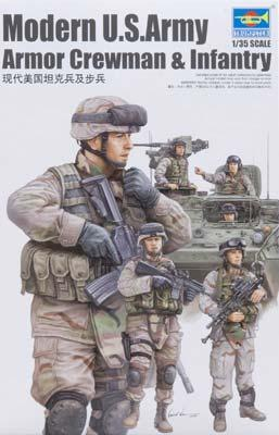 Trumpeter US Modern Army Crewmen & Infantry Figure Set Plastic Model Kit 1/35 Scale #00424
