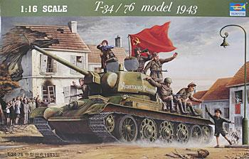 Trumpeter Russian Tank T34/76 Model 1943 -- Plastic Model Military Vehicle Kit -- 1/16 Scale -- #00903