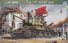Trumpeter Russian Tank T34/76 Model 1943 Plastic Model Military Vehicle Kit 1/16 Scale #00903
