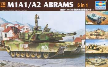 Trumpeter M1A1/A2 Tank (5 in 1) -- Plastic Model Military Vehicle Kit -- 1/35 Scale -- #01535