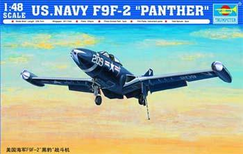 Trumpeter F9F2 Panther US Navy Fighter Aircraft -- Plastic Model Airplane Kit -- 1/48 Scale -- #02832