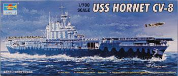 Trumpeter U.S.S. Hornet CV-8 US Aircraft Carrier -- Plastic Model Military Ship Kit -- 1/700 Scale -- #05727