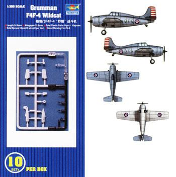 Trumpeter F4F-4 Wildcat Aircraft Carrier Fleet (10) -- Plastic Model Airplane Kit -- 1/350 Scale -- #06202