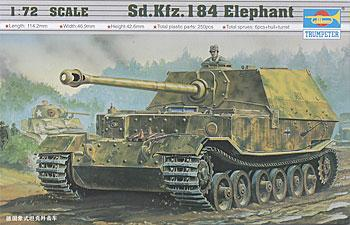 Trumpeter Panzer Tiger SdKfz 194 Elefant -- Plastic Model Military Vehicle -- 1/72 Scale -- #07204