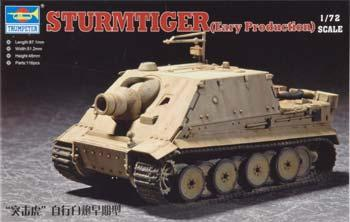 Trumpeter Sturmtiger Assault Mortar Early Version -- Plastic Model Military Vehicle -- 1/72 Scale -- #07274