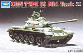 Trumpeter Chinese Type 59 Main Battle Tank Plastic Model Military Vehicle Kit 1/72 Scale #07285