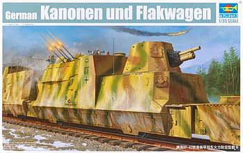 Trumpeter WWII German Kanonen & Flakwagen Anti-Aircraft Railcar Plastic Model Kit 1/35 Scale #1511