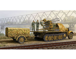 Trumpeter German SdKfz 7/1 Halftrack with Gun and Supply Trailer Plastic Model Kit 1/35 Scale #1524
