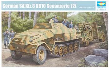 Trumpeter German SdKfz 8 Gepanzerte 12-Ton Halftrack -- Plastic Model Military Vehicle -- 1/35 Scale -- #1584