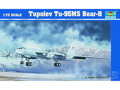 Trumpeter Tupolev Tu95MS Bear H Bomber -- Plastic Model Airplane Kit -- 1/72 Scale -- #1601