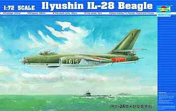Trumpeter Ilyushin IL28 Beagle Aircraft -- Plastic Model Airplane Kit -- 1/72 Scale -- #1604