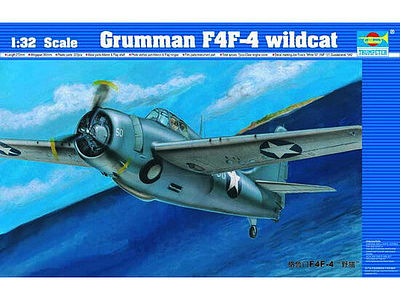 Trumpeter F4F4 Wildcat Fighter Aircraft -- Plastic Model Airplane Kit -- 1/32 Scale -- #2223