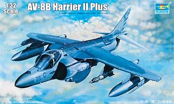 Trumpeter AV8B Harrier II Plus Version Attack Aircraft -- Plastic Model Airplane Kit -- 1/32 Scale -- #2286