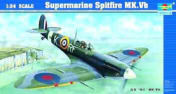 Trumpeter Supermarine Spitfire Mk.Vb-24 Aircraft -- Plastic Model Airplane Kit -- 1/24 Scale -- #2403