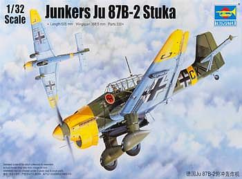 Trumpeter Junkers Ju-87B-2 Stuka Ground Attack Aircraft -- Plastic Model Airplane Kit -- 1/32 Scale -- #3214