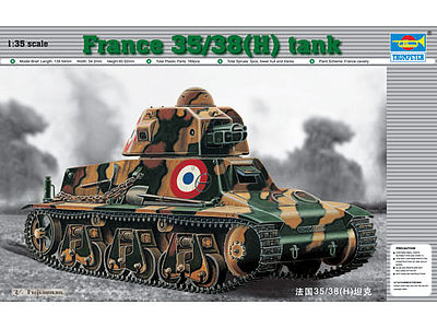 Trumpeter French 35/38(H) Tank with 37mm SA18 L/21 Gun -- Plastic Model Military Vehicle -- 1/35 Scale -- #351