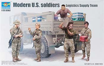 Trumpeter Modern US Soldiers Logistics Supply Team Figure Set -- Plastic Model Kit -- 1/35 Scale -- #429