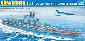 Trumpeter USSR Minsk (Kiev) Aircraft Carrier (2 in 1) Plastic Model Military Ship 1/550 Scale #5207