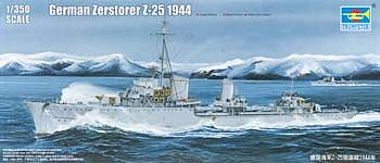 Trumpeter German Zerstorer Z25 Destroyer 1944 Plastic Model Military Ship 1/350 Scale #5321