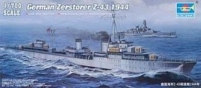 Trumpeter German Zerstorer Z-43 Destroyer 1944 Plastic Model Military Ship 1/700 Scale #5789
