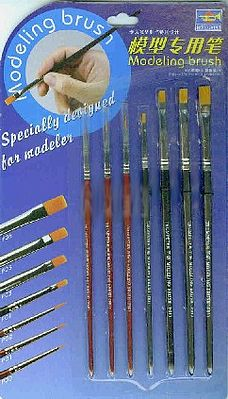 Trumpeter Modeling Brush Set (7pc) (Round #0, 1, 2/0 & Flat 1/4'', 1/8'', 3/16'', 7/32'')