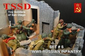 Toy-Soldiers WWII Russian Infantry Figure Playset (16) Plastic Model Military Figure 1/32 Scale #5