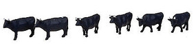 Tomy Black Cows (6) N Scale Model Railroad Figure #224860