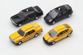 Tomy Toyota Taxis (Assembled) 4 Pack N Scale Model Railroad Vehicle #255512